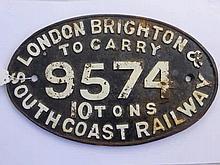 A Vintage Cast Iron Steam Engine Oval Plaque. Lon