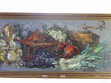 An Acrylic on Canvas, depicting a Still Life of V