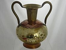 A Brass and Copper Two Handled Vase, 36 cm ht, to