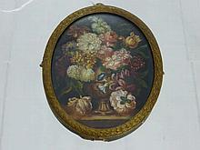 Oval Miniature Still Life, depicting a vase of fl