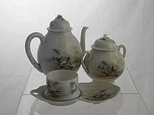 Porcelain Japanese Tea Set, comprising six cups,