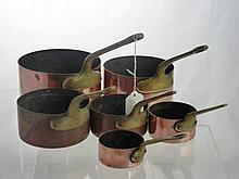 Six Graduated Copper Saucepans, with brass handle