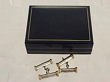 A Pair of 9ct Gold and Silver Gentleman's Cuff Li