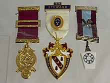 Miscellaneous Masonic Jewels including a ribbon s