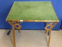 A Vintage Folding Card Table, the table covered i
