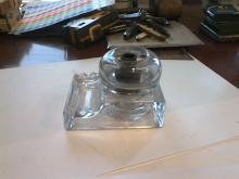 Glass inkwell and pen rest