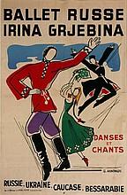 ANNENKOV Youri 1889-1974 Ballets russes Irina Grjebina  Poster 58,3 x 38,5 cm