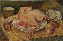 ADLEN Mikhail (Michel) 1898-1980 Nature morte au poulet Oil on canvas Signed down left On reverse signed Adlen and dated 1943 27,5 x 41 cm