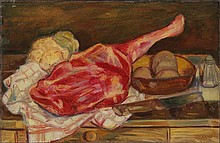 ADLEN Mikhail (Michel) 1898-1980 Nature morte au gigot Oil on canvas Signed down right On reverse signed Adlen and dated 1944 27,5 x 41 cm
