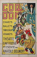 POZHIDAEV (POGEDAÏEFF) Grigory (Georges) 1897-1971 Coq d'or Russian Art Theater poster Signed and dated 1926 120 x 80 cm Good condition