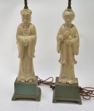 PR Chinese Porcelain Immortal Figural Lamps