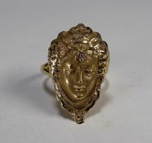 14KT Gold Art Nouveau Female Face Ring