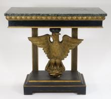 American Regency Style Gilt Eagle Marble Top Table
