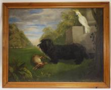 19C. Folk Art Hunting Dog Rabbit Parrot Painting