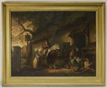 M. Fagan Genre Scene Farmhouse Horse Painting