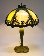 American Art Nouveau Green Slag Glass Lamp