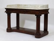 Empire Period Flame Mahogany Marble Top Pier Table