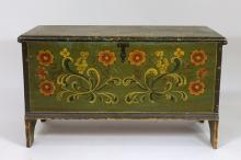 New England Six Board Pine Painted Blanket Chest