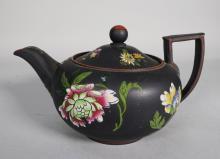 Wedgewood Black Basalt Floral Enamel Teapot