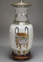 Chinese Famille Rose Porcelain Vase Lamp