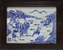 Chinese Blue & White Porcelain Tile of Warriors