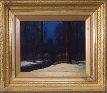 Francis Dixon Nocturnal Snowy Landscape Painting