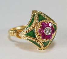 18KT Ruby Diamond Enamel Ladies Cocktail Ring