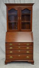 Henkel Harris 2 pc cherry Chippendale style secretary desk, 81