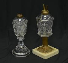 Flint glass Star & Punty whale oil lamp, brass & marble base, with incorrect burner, 9-1/2