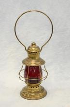 Brass New York Central System NYCS caboose lantern with ruby glass shade, 17