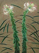 G Ralph Smith (American, PA, 1907-2007), oil on Masonite, Two Flowers, signed lower right, 24