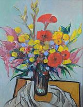 G Ralph Smith (American, PA, 1907-2007), oil on Masonite, Flower Bouquet, signed lower right, 24
