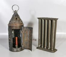 Pierced tin hanging candle lantern, conical top, with a 10-hole tin candle mold, 10-5/8