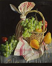 Lodewijk Bruckman (Dutch, 1913-1980), oil on canvas, Still Life with Fruit, Basket, and Cloth, signed and dated '58 upper right, 20