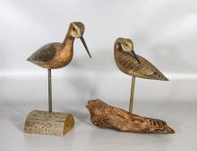(2) Carved & painted shore bird decoys by HV Shourdes, one dated 1983, tallest 12