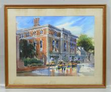 Pat Macht (American, 20th Century), watercolor, Street Scene, signed and dated '86 lower right, 21