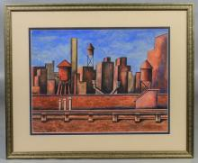 Henry Billings (American, 1901-1985), watercolor and gouache, Industrial Landscape, signed and dated '55 lower left, 10-1/4