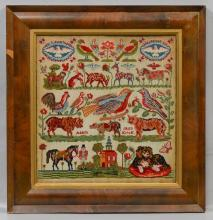 1859 Needlepoint sampler, signed Adam Krick, with all over animal designs, 17-3/4