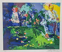 Leroy Neiman (American, 1921-2012), serigraph, Pool Room, pencil signed lower right, edition 308/350, 17-1/4