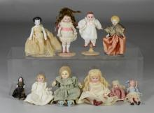 (10) Assorted small bisque & china dolls, tallest approximately 4-1/2
