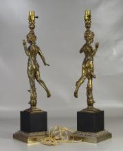 Pair of patinated white metal figural table lamps, 29-1/2