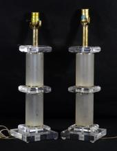 Pair of lucite table lamps, 22