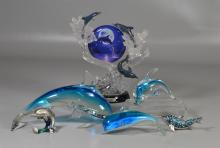 (6) Dolphin figurines, including (3) art glass paperweights, (2) metal & rhinestone trinket boxes, Bradford Exchange Moonlit Splendo...