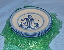 8 MA Hadley luncheon plates with skier decoration, 9