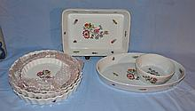 7 pieces of French floral decorated ovenware.