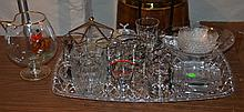 14 highball glasses decorated by Richard Bishop, 7 piece etched clear glass salad set with flying geese decoration, and a large cock...
