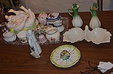 Porcelain, including 4 covered boxes, creamer, sugar, dog figurine, small bell, 2 cruets, Havilland pitcher, duck planter, a leaf di...