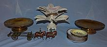 White painted citrus holder, two copper and brass compotes, Britain's horsedrawn army wagon with some damage, and 8 enameled Chinese..