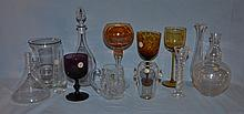 13 pieces of crystal, including a Waterford mug, 4 assorted color goblets, Baccarat crystal decanter with stopper, and other assorte...
