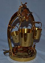 Equestrian motif brass smoke stand with cigar cutter.